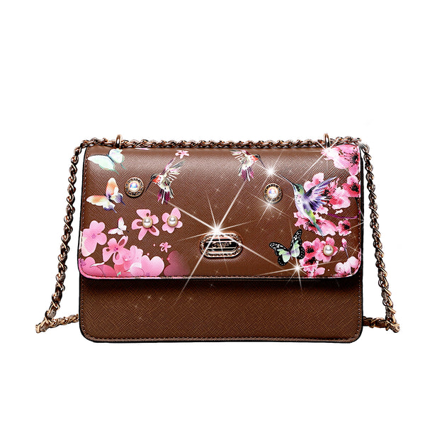 Hummingbird Retro Fashion Stains & Damage Resistant Crossbody Clutch - Brangio Italy Collections