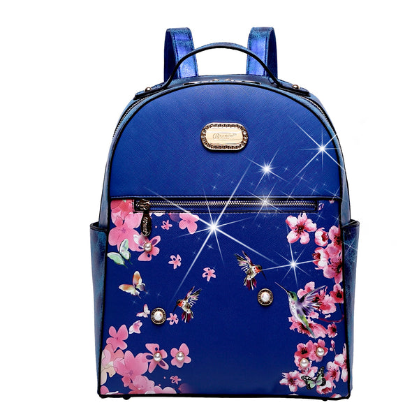 Hummingbird Crystal Laced Scratch & Stain Resistant Womens Backpack - Brangio Italy Collections
