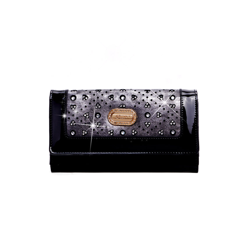 Sparkle of Hearts Envelope Shaped Womens Wallet with Phone Holder - Brangio Italy Co.