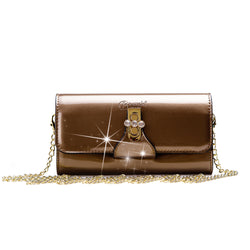 Tri-Star Evening Bridal Clutch Crossbody Bag with Chain Strap - Brangio Italy Collections
