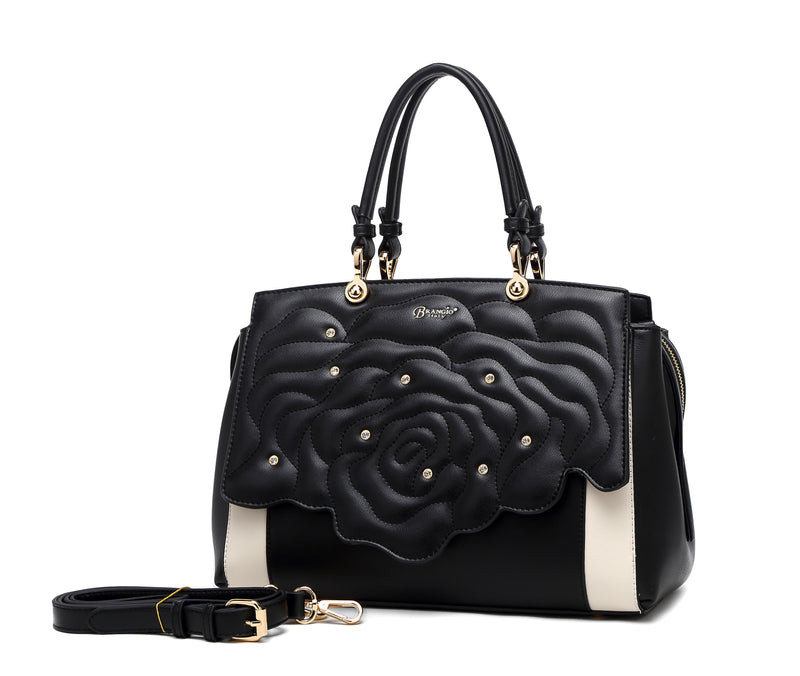 Rosette 3D Crystal Metallic Satchel - Brangio Italy Collections