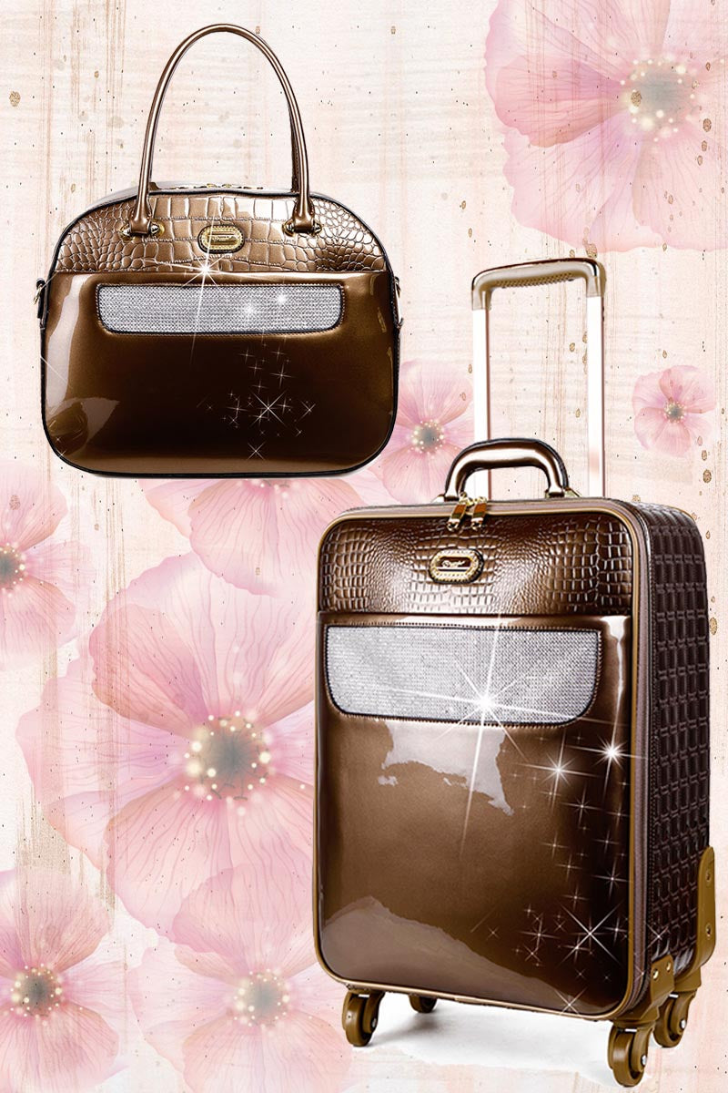 Sleek & Steady 2PC Set | Signature Away Luggage Set for Travel with Crossbody Bag - Brangio Italy Collections