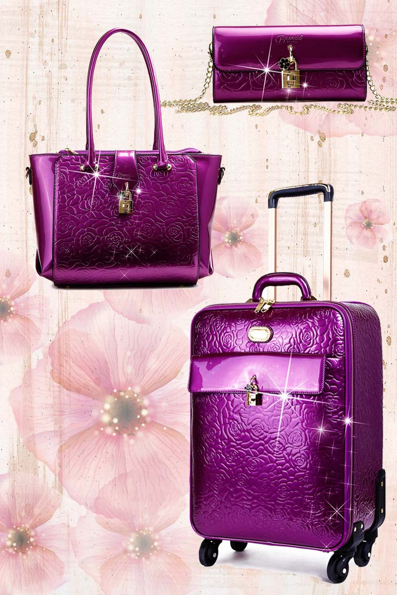 Rosy Lox 1.0 3PC Set | Luggage For Women Rolling Suitcase Travel Bag - Brangio Italy Co.