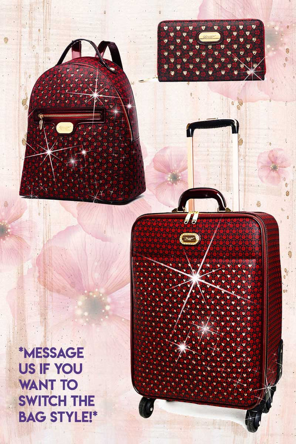 Galaxy Stars 3PC Set | Luxury Crystal Backpack & Luggage - Brangio Italy Collections