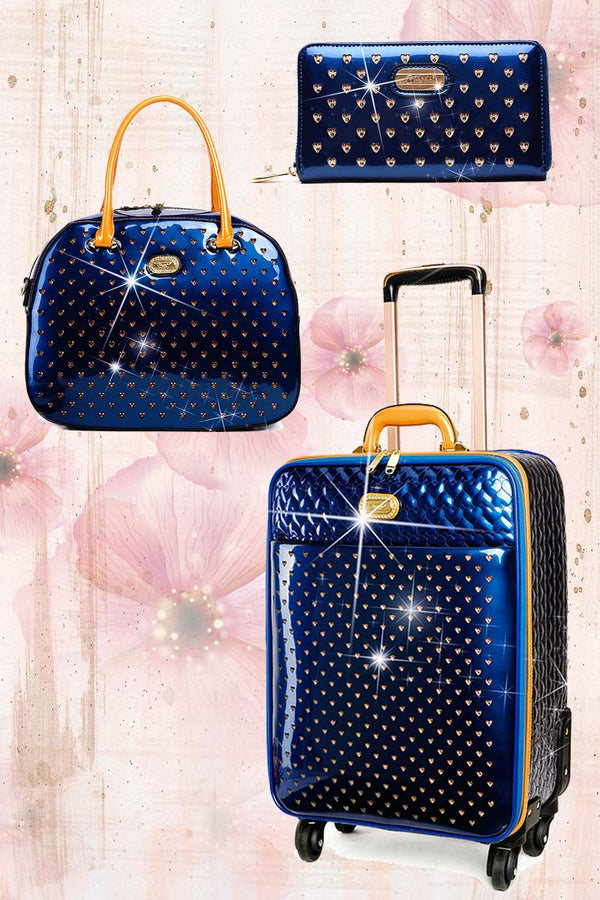 Starz Art Retro 3PC Set | Luxury Women Overnight Bag Set with Spinning Wheels - Brangio Italy Co.
