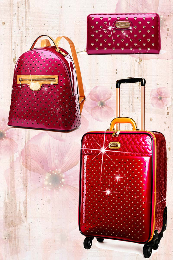 Starz Art 3PC Set | Luxury Women Overnight Bag Set with Spinning Wheels - Brangio Italy Co.