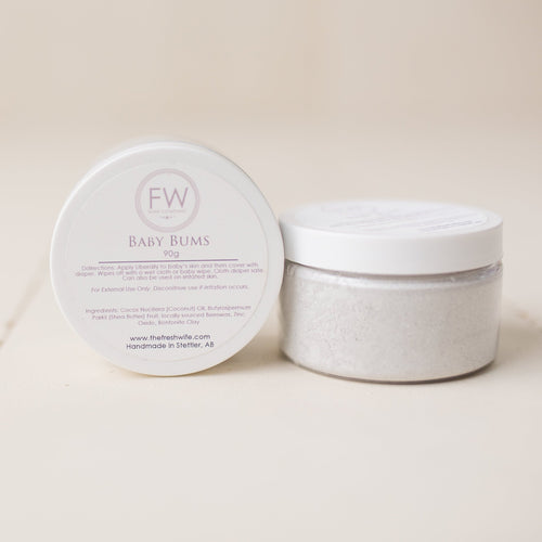 Fresh Wife Baby Bums diaper cream made with all natural ingredients.  Sold in an 120ml plastic jar.