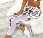 Tropical Floral Printed Yoga Leggings & Bra Set