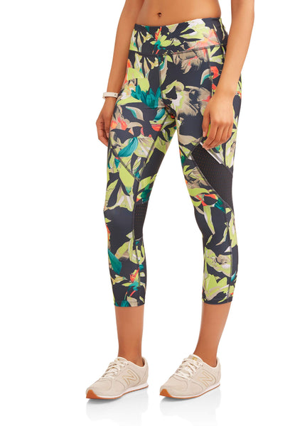 Allover Print Capri Legging with Mesh Inserts