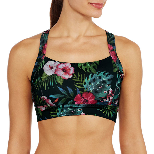 Maui Medium Impact Tropical Print Sports Bra