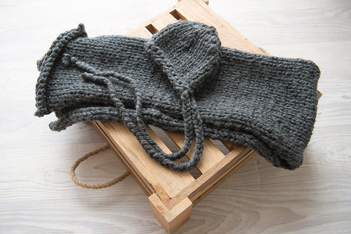 Dark Grey Knitted Bonnet and Wrap