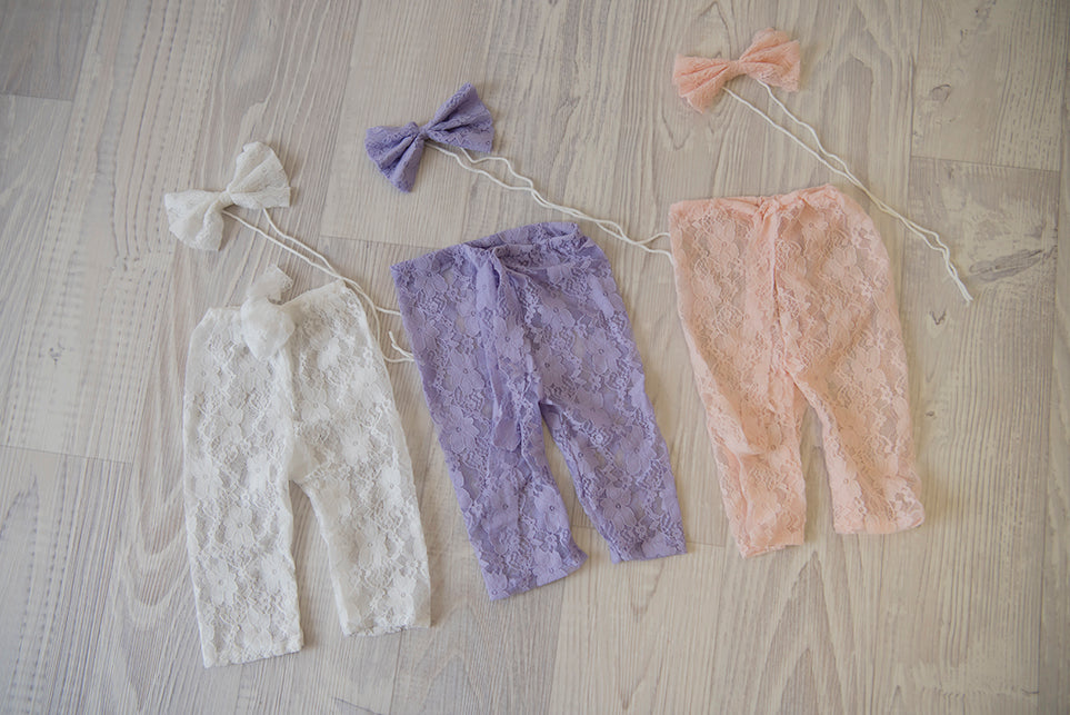 Lace Pants with Matching Bow