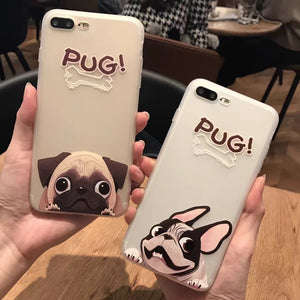 Cartoon Pug/Bulldog Phone Case For iPhone 6, 6s,7, - Go Pugs