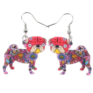 Multi color Pug Earrings - Go Pugs