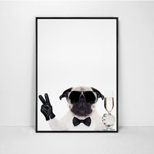 Pug In Tux Canvas Print (No Frame) (10 sizes) - Go Pugs