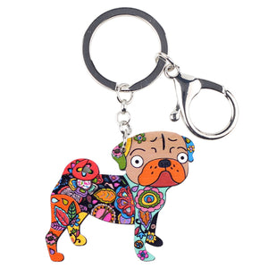Colorful Acrylic Pug Key Chain - Go Pugs