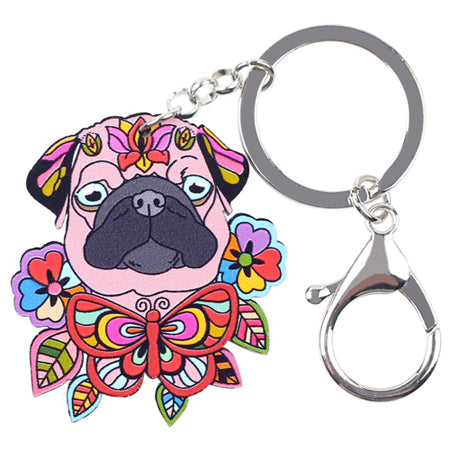 Flowery Pug Head Acrylic Key Chain (6 colors) - Go Pugs