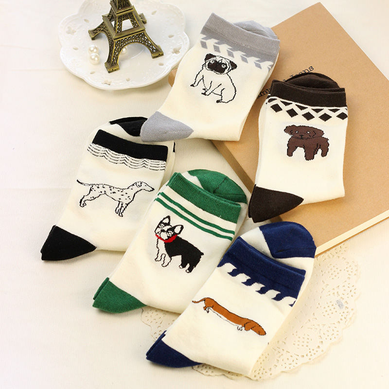 2017 New Cotton Unisex Off White Pugs Embroidery  Socks - Go Pugs