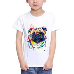 Boys/girls Watercolor Pug 18M-10T Top T - Go Pugs