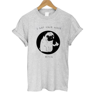 Cotton Pug Print Women O-Neck T Shirt - Go Pugs