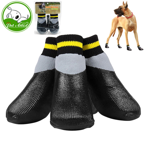 4pcs/set Outdoor Waterproof Nonslip Anti-stain Dog  Booties Wth Rubber Sole  For Small to Large Dog - Go Pugs