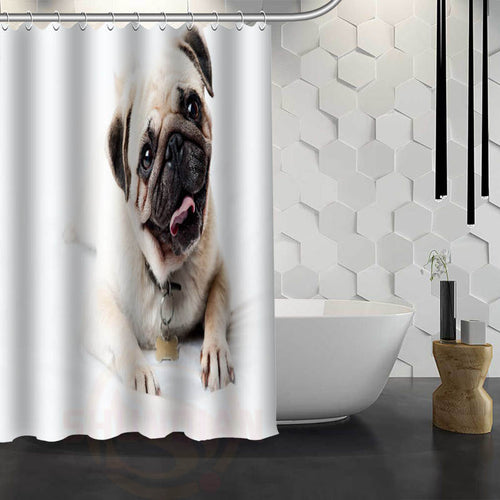 Hot Sale!! Pug Print Shower Curtain (6 selections) - Go Pugs