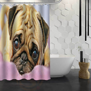 Happy Pug  Shower Curtain - Go Pugs