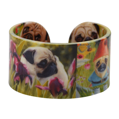 Acrylic Pug Pattern Wide Bangle - Go Pugs