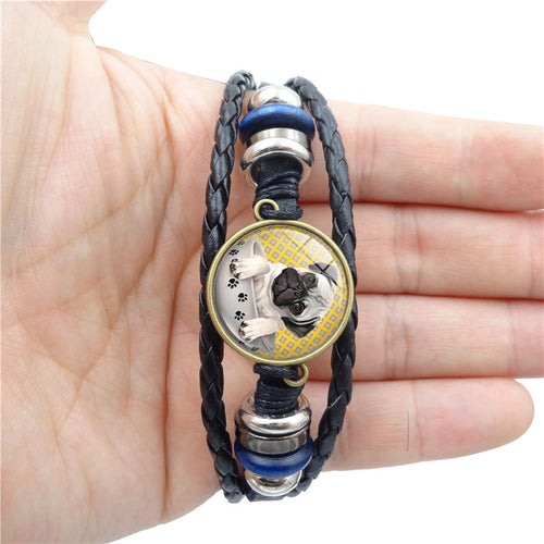 Pug In A Tea Cup Glass Vintage Black Leather Bracelet - Go Pugs