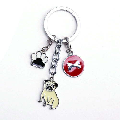 Pug/Paw/Bone  Keychain Metal Key Ring - Go Pugs