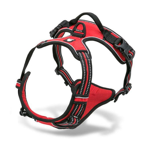 Nylon Large Pet Dog Harness All Weather (Red) - Go Pugs