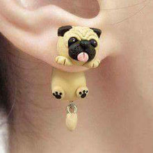 Handmade Polymer Clay Soft  Pug  Earrings - Go Pugs