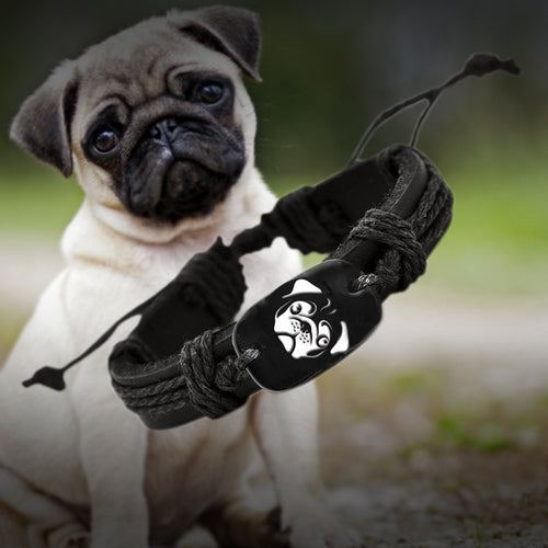 PUG Braided Woven Rope Leather Unisex Adjustable Bracelet - Go Pugs