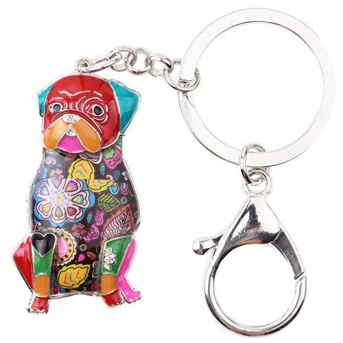 Colorful Sitting Pug Enamel  Key Chain (6 colors) - Go Pugs