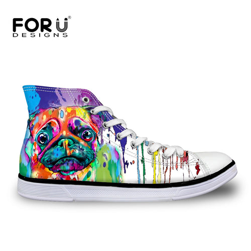 Funky Colorful 3D Pug Print Women High Top Canvas Shoes (3 designs) - Go Pugs