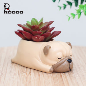Display your beloved plants in this Sleeping Pug Resin Planter - Go Pugs