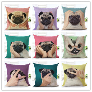 45x45CM Creative Pug Print Cotton Pillowcases - Go Pugs