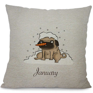 Cartoon Pug Cotton Pillowcase with Month Pattern - Go Pugs