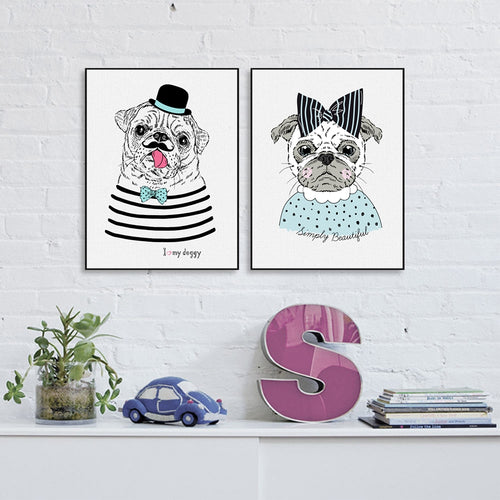 Hand Drawn Hipster Pug Print Poster (No Frame) - Go Pugs