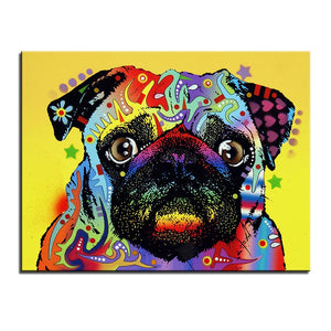 Large size Colorful Pug Oil Painting Print (No Frame) (5 sizes) - Go Pugs