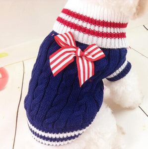Red, White And Blue Sweater With Big Bow - Go Pugs
