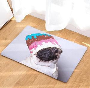 Funny Pug Suede Absorbent Floor Mat (25 selections) - Go Pugs