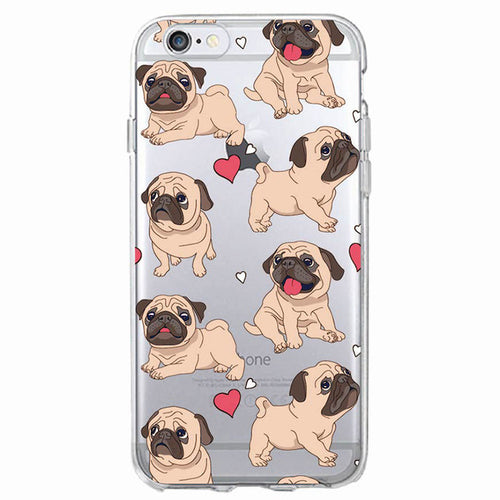 Cute Puppy Pug Soft Phone Case For iPhone7Plus 6 6S 6Plus 8 8plus X Samsung(3 designs) - Go Pugs