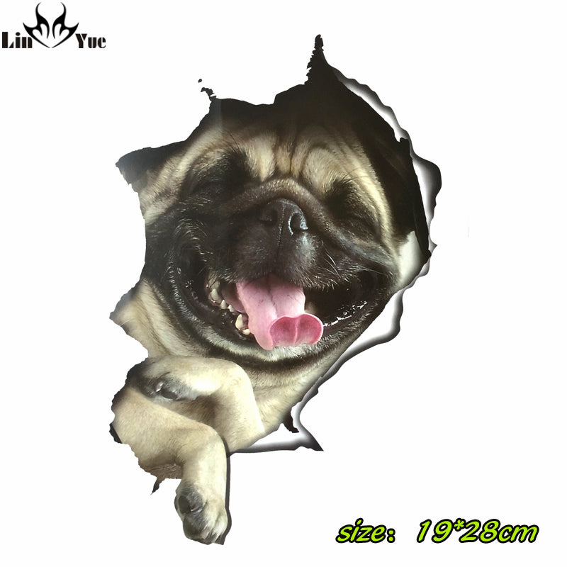 3D vinyl pug car, laptop, fridge, skateboard Stickers - Go Pugs