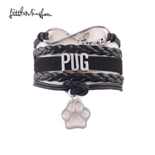 Infinity Love PUG With Paw Charm Leather Wrap Bracelet (4 Colors) - Go Pugs