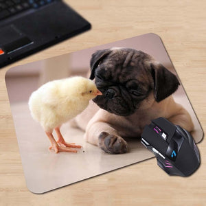 Pug and Chick Anti-Slip Mouse Pad - Go Pugs