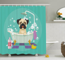 Pug Dog in Bathtub  Shower Curtain Set with Hook - Go Pugs