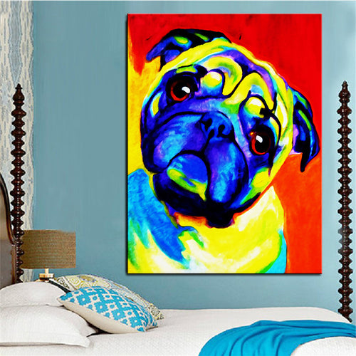 Large Size Oil Painting Pug Wall Print (No Frame) (5 sizes) - Go Pugs