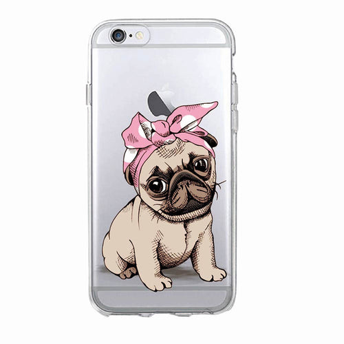 Puppy Pug Soft Phone Case For iPhone 5 7 7Plus 6 6S 6Plus 8 8Plus X SAMSUNG - Go Pugs