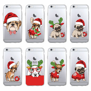 Christmas Pug Soft Phone Case For iPhone 7 7Plus  6S 6Plus 5 5S 8 8Plus X Samsung - Go Pugs